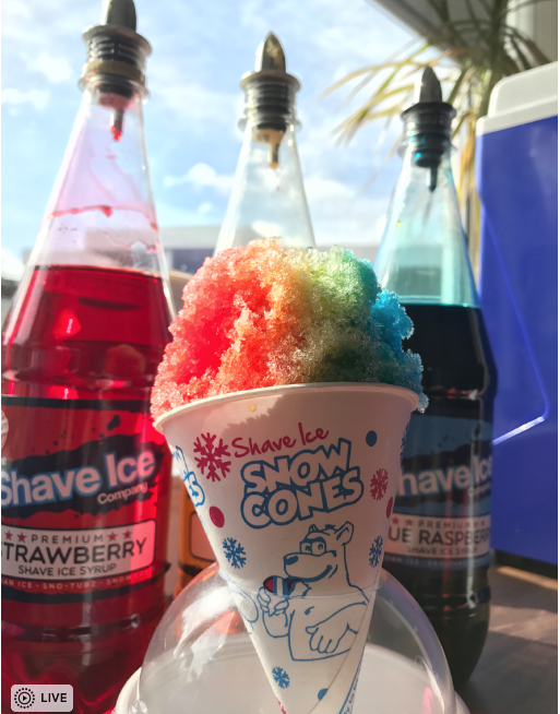 Snow Cones product in the sun with syrups