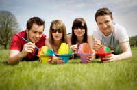 4 people enjoying Shave Ice